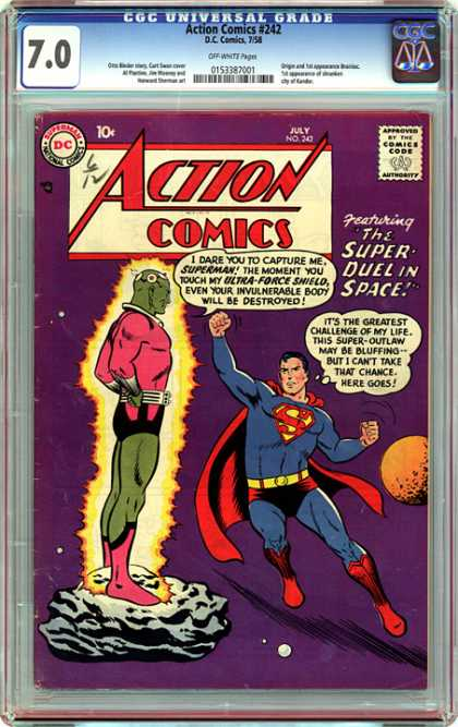 CGC Graded Comics - Action Comics #242 (CGC) - The Super Dual In Space - 242 - Superman - Super-outlaw - Ultra-force Shield