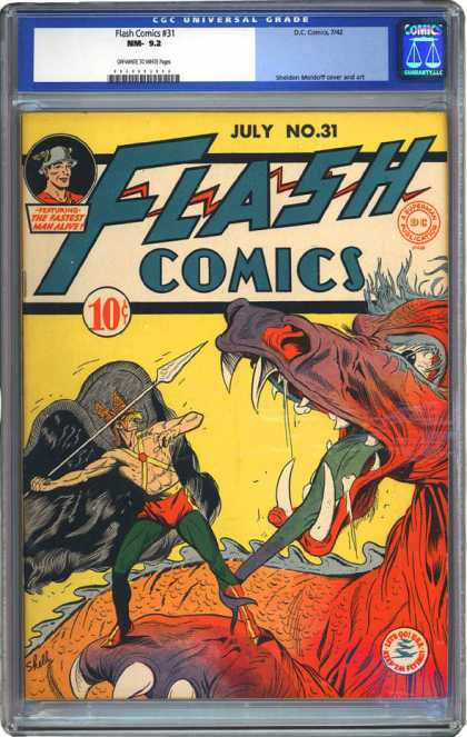 CGC Graded Comics - Flash Comics #31 (CGC) - Hawkman - Spear - Green Tongue - Monster - Fangs
