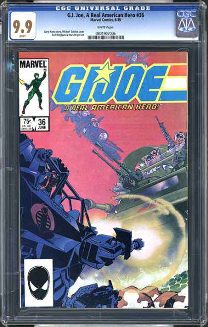 CGC Graded Comics - G.I. Joe, A Real American Hero #36 (CGC) - 99 - Gijoe - A Real American Hero 36 - Marvel Comics - 75c 36june