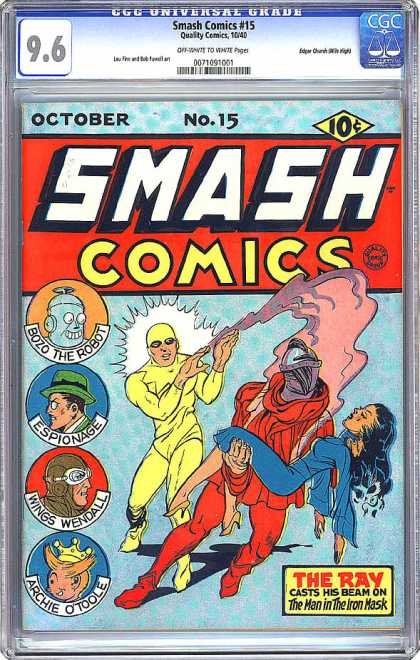 CGC Graded Comics - Smash Comics #15 (CGC) - Bozo The Robot - Espionage - Wings Wendall - Archie Otoole - The Ray