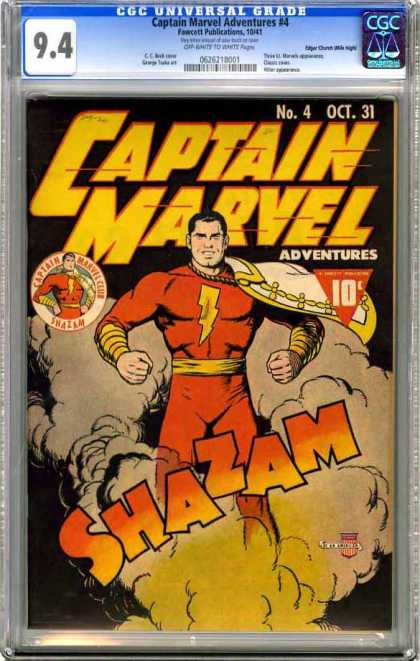 CGC Graded Comics - Captain Marvel Adventures #4 (CGC) - October - Captain Marvel - 10 Cents - Shazam - Superhero