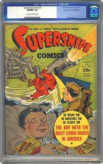 CGC Graded Comics - Supersnipe Comics #6 (CGC) - Supersnipe - The Boy With The Most Comic Books In America - A Comic With A Sense Of Humor - Bed - Weapon