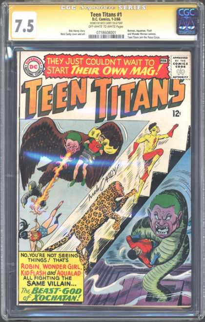 CGC Graded Comics - Teen Titans #1 (CGC) - Robin - Kid Flash - Wonder Girl - Aqualad - Beast-god