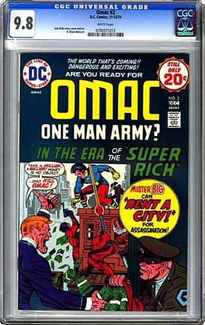 CGC Graded Comics - Omac #2 (CGC) - Omac - Era Of Super Rich - Rent A City - Mister Big - Stealing Money