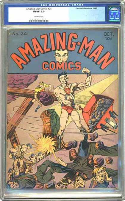 CGC Graded Comics - Amazing-Man Comics #24 (CGC) - No 24 - Oct 10c - Wheel Barrel - Rocks - Superhero