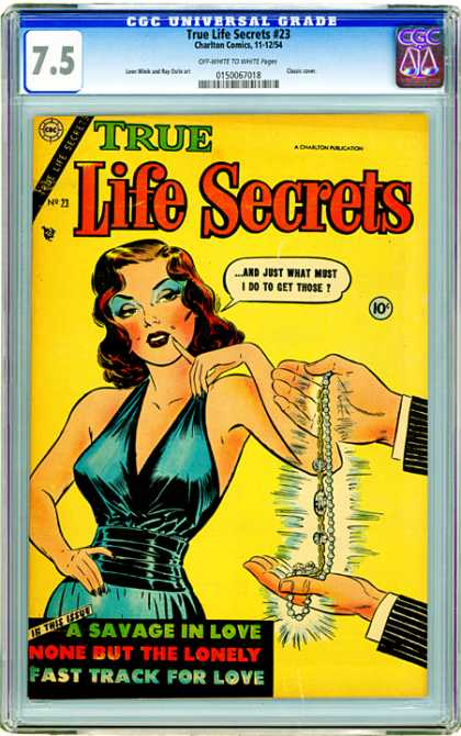 CGC Graded Comics - True Life Secrets #23 (CGC) - Diamond Necklace - Woman - Blue Dress - Life Secrets - Love