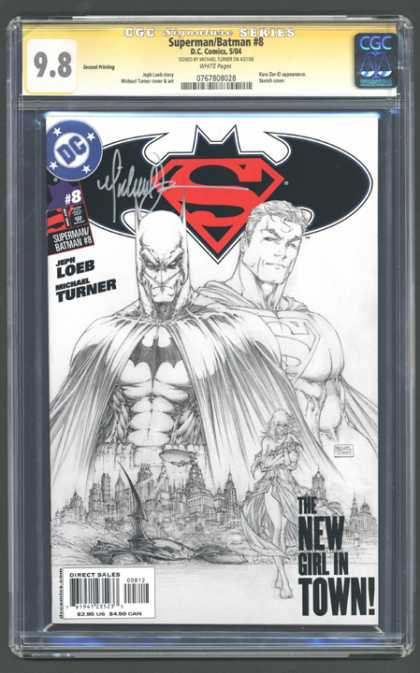 CGC Graded Comics - Superman/Batman #8 (CGC) - Superman - Black And White - Loeb - Turner - New Girl