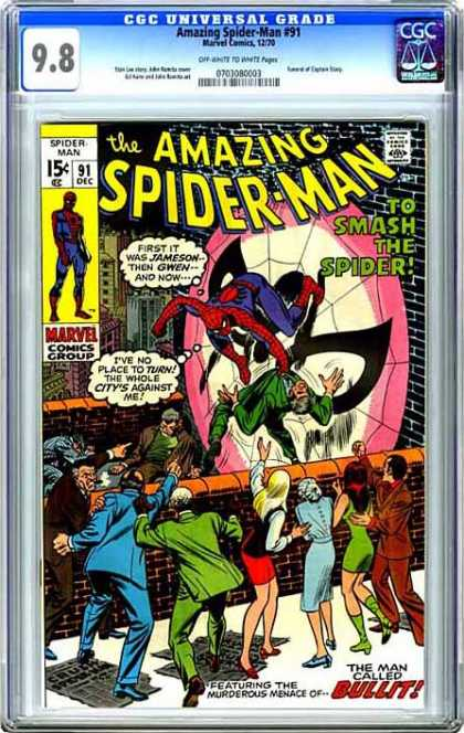 CGC Graded Comics - Amazing Spider-Man #91 (CGC) - December - Spider-man - 15 Cents - Marvel - To Smash The Spider