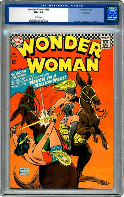 CGC Graded Comics - Wonder Woman #168 (CGC) - Wonder Woman - Battle - Horse - Never In A Million Years - Sword