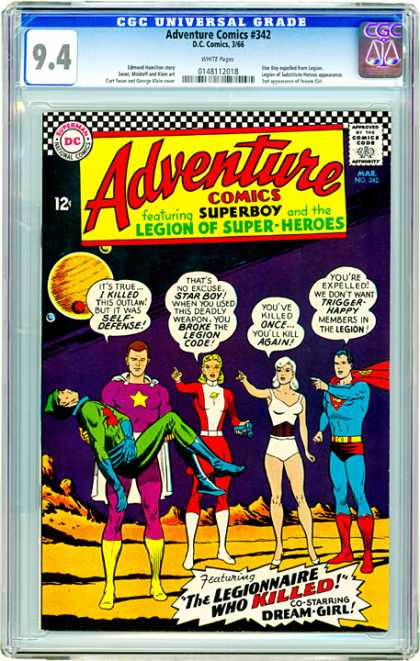 CGC Graded Comics - Adventure comics #342 (CGC) - Adventure Comics - Superboy - Legion Of Super-heroes - Star Boy - Dream Girl