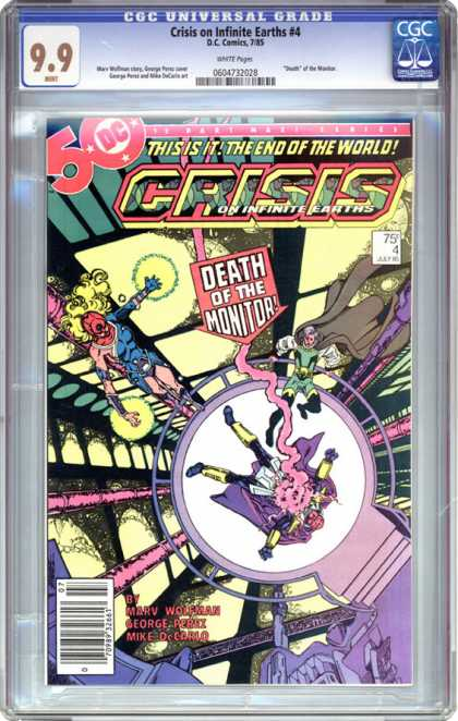 CGC Graded Comics - Crisis on Infinite Earths #4 (CGC) - Death - The End - Capes - Yellow Magic - Monitor