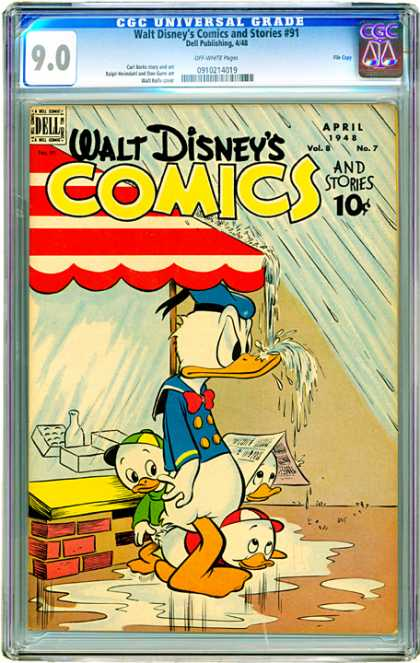 CGC Graded Comics - Walt Disney's Comics and Stories #91 (CGC) - All Wet - Rain Fights Back - Donald Gets A Bath - Run For Cover - Drink Up