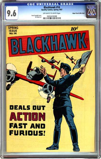 CGC Graded Comics - Blackhawk #14 (CGC) - Airplane - Spring Issue - Blackhawk - Man - Flag
