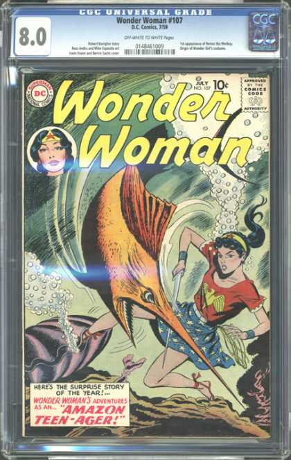 CGC Graded Comics - Wonder Woman #107 (CGC) - Superman - Jungle Book - Tommy And Jerry - Pappay And Sons - Sound Women