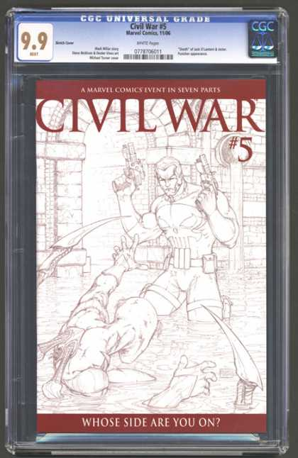 CGC Graded Comics - Civil War #5 (CGC) - Whose Side Are You On - Number Five - Holding Guns - Fighting In Water - Tunnel