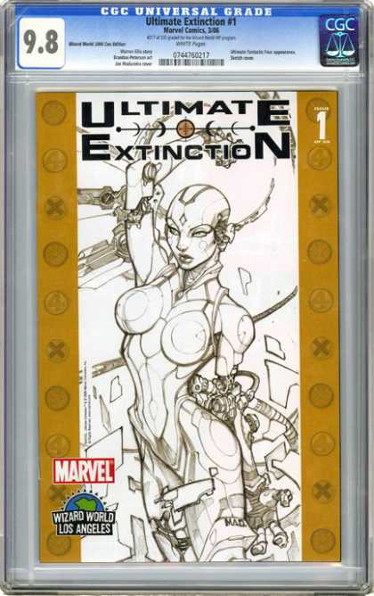 CGC Graded Comics - Ultimate Extinction #1 (CGC) - Ultimate Extinction - Futuristic - Comic Book - Sketch Drawings - Super Hero