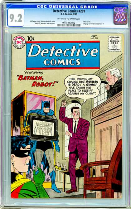 CGC Graded Comics - Detective Comics #281 (CGC) - Batman Robot - Robin - Pink Suit - Judge - Wooden Chair