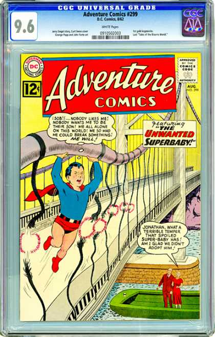 CGC Graded Comics - Adventure Comics #299 (CGC) - The Unwanted Superbaby - Bridge - Crying - Cape - Strength