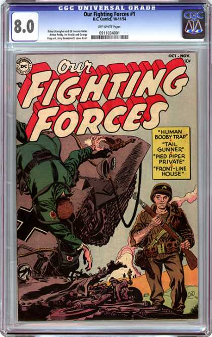CGC Graded Comics - Our Fighting Forces #1 (CGC) - Human Booby Trap - Tail Gunner - Pied Piper Private - Front-line House - World War Ii