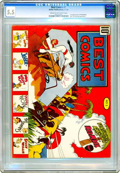 CGC Graded Comics - Best Comics #1 (CGC) - Best Comics - Red Mask - Tree - Fight - Silly Willie