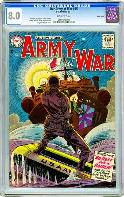 CGC Graded Comics - Our Army at War #55 (CGC) - Ship - Flag - Explosion - Solier - Water
