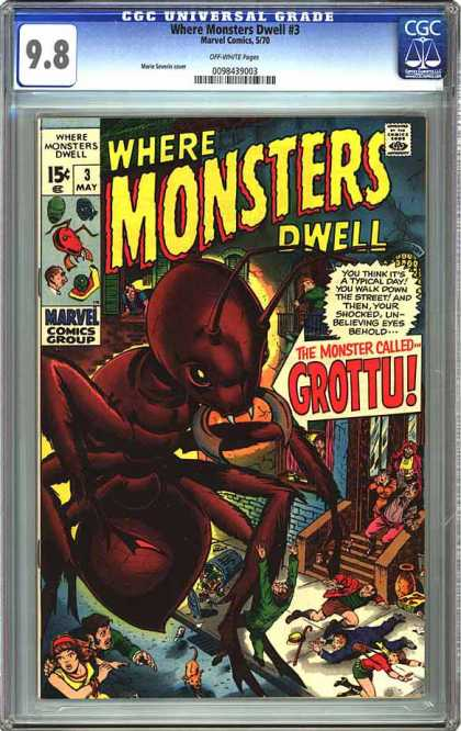 CGC Graded Comics - Where Monsters Dwell #3 (CGC) - Grottu - Monsters - Giant Ant - City Street - Marvel