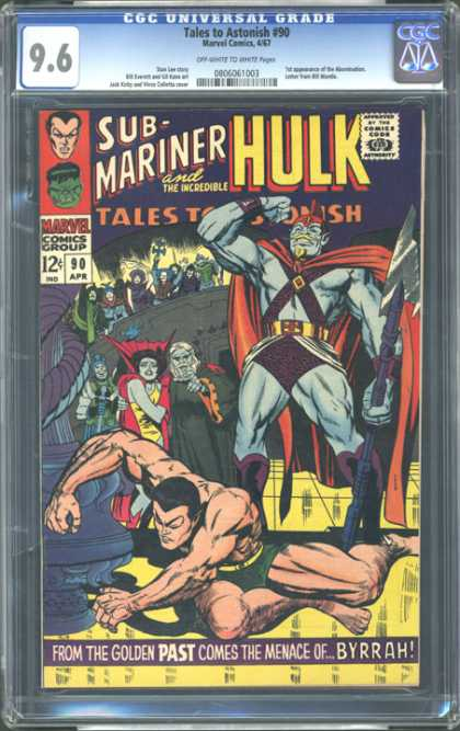CGC Graded Comics - Tales to Astonish #90 (CGC) - Red Cape - Diamond Chest Strap - Man On Ground - Fist In Air - Purple Ropes