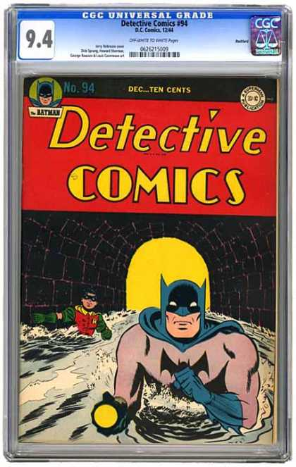 CGC Graded Comics - Detective Comics #94 (CGC) - Detective Comics - No 94 - Batman - Robin - Tunnel