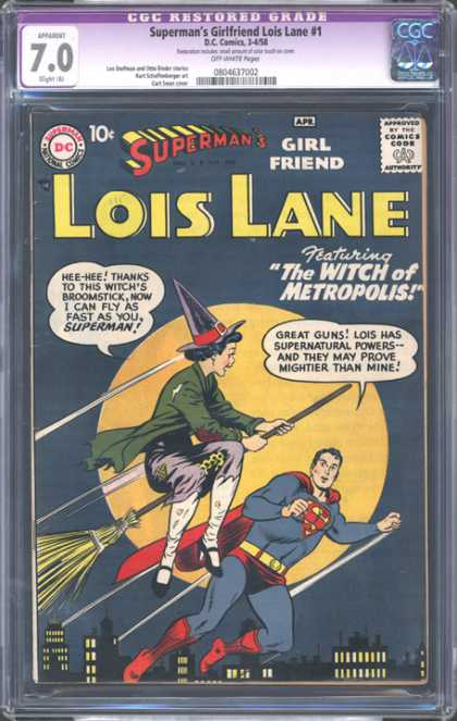 CGC Graded Comics - Superman's Girlfriend Lois Lane #1 (CGC) - Supermans Girlfriend Lois Lane - Witch Flying On A Broom - Full Moon - Night Time City - The Witch Of Metropolis