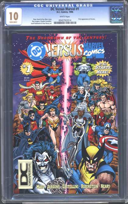 CGC Graded Comics - DC Versus Marvel #1 (CGC) - Battle - Heroes - Fight - Winner - Versus