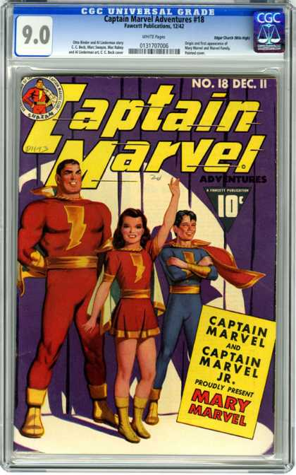 CGC Graded Comics - Captain Marvel Adventures #18 (CGC) - Adventures - Mary Marvel - Lightning - No 18 Dec 11 - Shazam