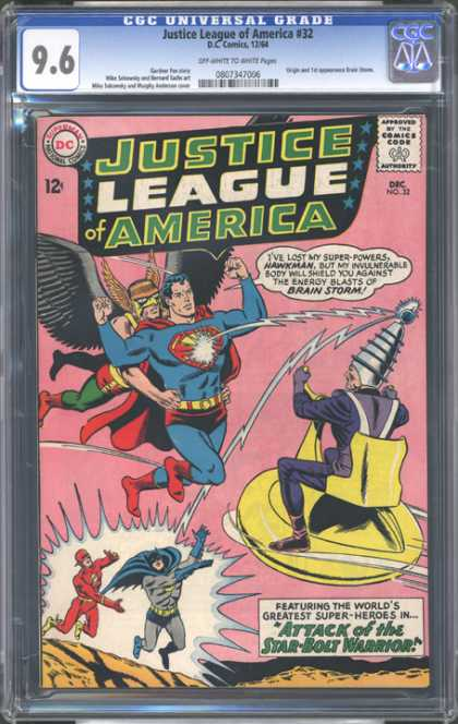 CGC Graded Comics - Justice League of America #32 (CGC) - Lightning - Zapped - Superheros United Against Evil - Batman - Hawkman