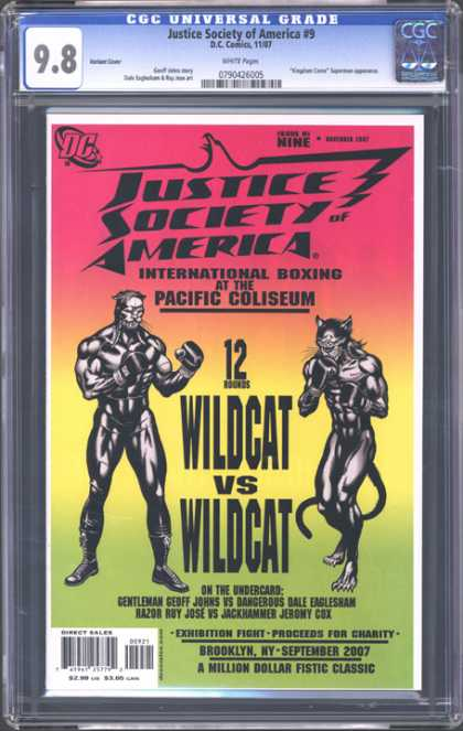 CGC Graded Comics - Justice Society of America #9 (CGC) - Wildcat Vs Wildcat - Red - Yellow - Dc - Brooklyn