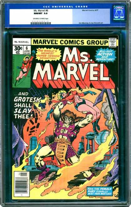 CGC Graded Comics - Ms. Marvel #6 (CGC) - And Grotesk Shall Slay Thee - Hoist - Female Fury - Flames - Unconscious