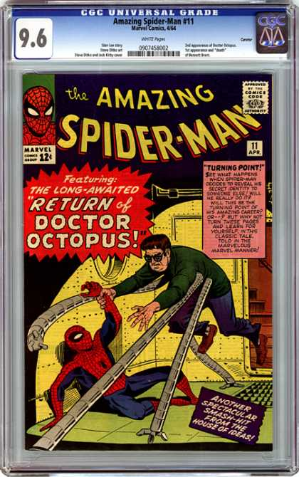 CGC Graded Comics - Amazing Spider-Man #11 (CGC) - Amazing Spider Man - Marvel Comics - Turning Point - Return Of Doctor Octopus - Another Spectacular Smash Hit From The House Of Ideas