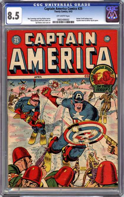 CGC Graded Comics - Captain America Comics #25 (CGC) - War Planes - Skis - Snow - Gun - Star