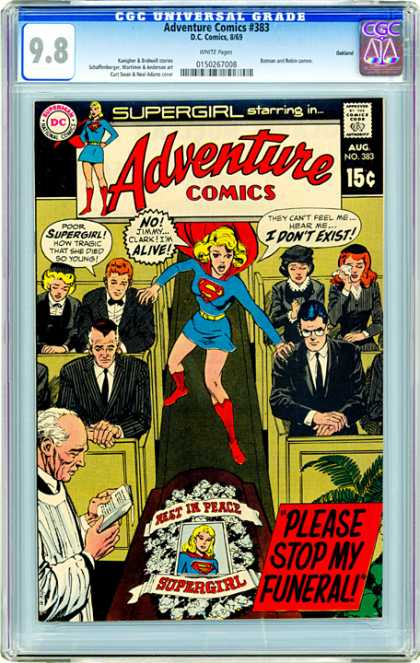 CGC Graded Comics - Adventure Comics #383 (CGC) - Men - Supergirl - Funeral - Pews - Women