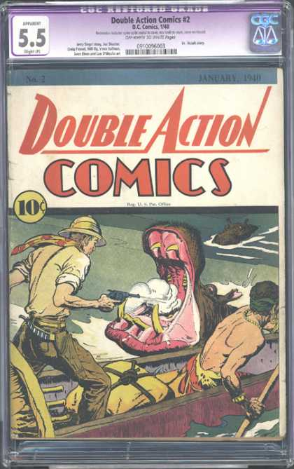 CGC Graded Comics - Double Action Comics #2 (CGC) - Hippo - Shot - Gun - Native - Boat