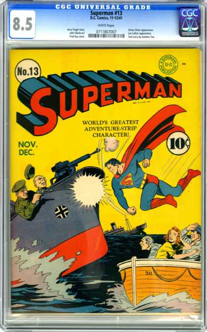CGC Graded Comics - Superman #13 (CGC) - Superman - Boat - Gun - Sinking Ship - Fighting