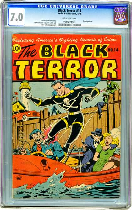 CGC Graded Comics - Black Terror #14 (CGC) - The Black Terror - Motorboat - Dock - Light House - Guns