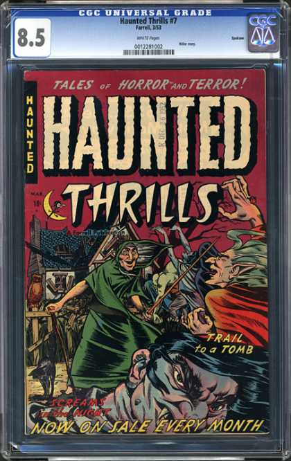 CGC Graded Comics - Haunted Thrills #7 (CGC) - Trail To A Tomb - Haunted House - Witch - Goblins - Vampire