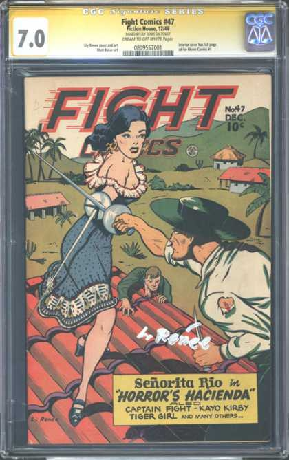 CGC Graded Comics - Fight Comics #47 (CGC) - Cartoon - Lady - Man - Red - Tree