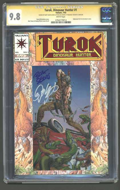 CGC Graded Comics - Turok, Dinosaur Hunter #1 (CGC) - Valiant - Signed - Indian - Bow And Arrow - Car