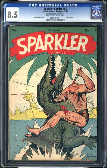 CGC Graded Comics - Sparkler Comics #53 (CGC) - March - No 53 - Man - Alligator - Dagger