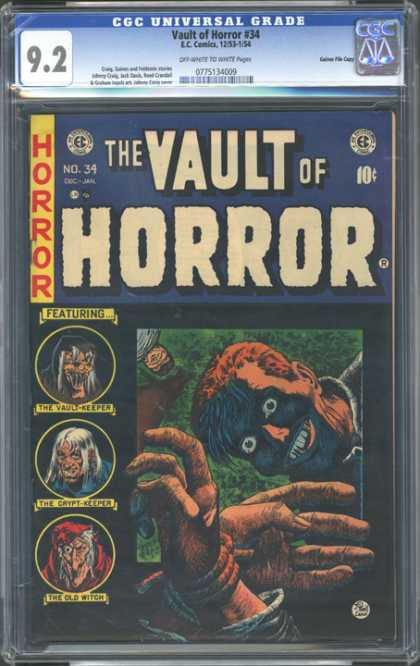 CGC Graded Comics - Vault of Horror #34 (CGC) - Horror - Scary - Fiend - Fright - Face