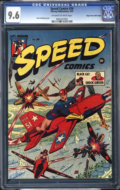 CGC Graded Comics - Speed Comics #36 (CGC) - Speed - Capt Freedom - Black Cat - Shock Gibson - 10 Cents