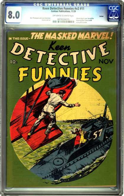 CGC Graded Comics - Keen Detective Funnies #v2 #11 (CGC) - Submarine - Airplane - Ocean - Masked Marvel - Woman
