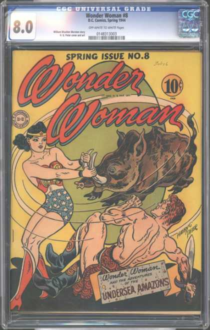 CGC Graded Comics - Wonder Woman #8 (CGC) - Wonder Woman - Spring Issue - Boar - Superman Publication - Undersea Amazons