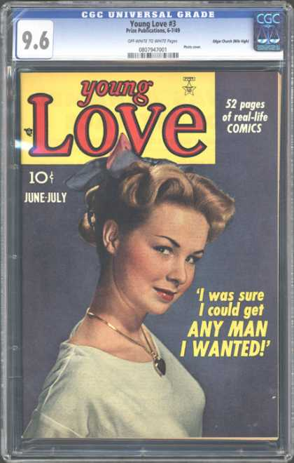 CGC Graded Comics - Young Love #3 (CGC) - Cgc Hologram - Gold Charm - Bow - White Shirt - Red Lip-stick