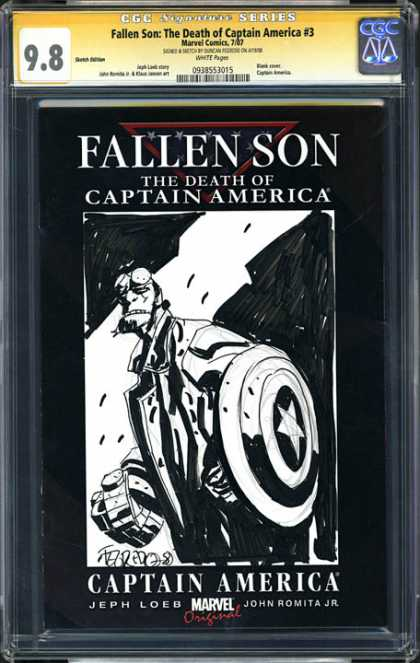 CGC Graded Comics - Fallen Son: The Death of Captain America #3 (CGC) - Fallen Son - The Death Of Captain America - Black And White - Shield - Marvel